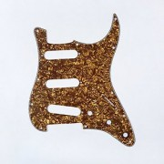 Musiclily SSS 11 Holes Strat Electric Guitar Pickguard for Fender US/Mexico Made Standard Stratocaster Modern Style Guitar Parts 4ply Pearl Bronze
