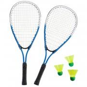 SportX Sterke badminton set blauw/wit met 3 shuttles en opbergtas