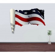 3D Stars And Stripes Picture Scroll Removable Wall Art Sticker, Tamaño: 66 X 98 X 0,3 Cm