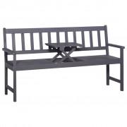 vidaXL Bancă de grădină cu 3 locuri & masă gri 158cm lemn masiv acacia