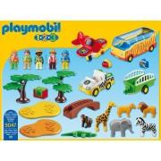 Playmobil 1.2.3 Coffret Animaux De La Savane Avec Gardien Et Touristes