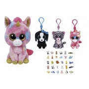 Stuffed Animals Beanie Boos Bundle Medium Size (9-in) Pink Unicorn and Clips Keychains Dog, Leopard and Unicorn Plush with One Bonus Puzzle Animal Eraser by ReBL LLC