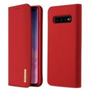 DUX DUCIS Wish Series for Samsung Galaxy S10 Plus Wallet Stand Genuine Leather Case (CNAS/CMA Certified) - Red