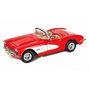 Motor Max 1959 Chevy Corvette Convertible, Red - Motormax 73216 1/24 Scale Diecast Model Toy Car