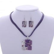 Set colier cu cercei mov bijuterii africane