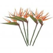 Mica Decorations 5x Oranje strelitzia/paradijsvogelbloem kunstbloemen 90 cm