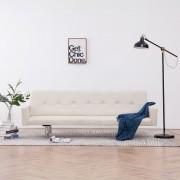 vidaXL Разтегателен диван с подлакътници, кремав, полиестер