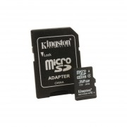 Memoria Micro Sd hc 32gb Kingston Clase 4 Con Adaptador SD-Negro