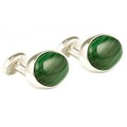 Mousie Bean Crystal Cufflinks Oval Semi Precious 005 Malachite