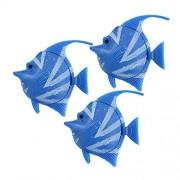 uxcell Juego de 3 Adornos de plástico para Acuario, diseño de Peces Tropicales, Color Azul y Blanco