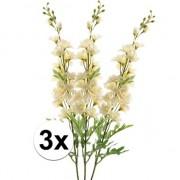 Bellatio flowers & plants 3x Witte Ridderspoor kunstbloemen tak 70 cm
