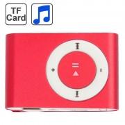 TF (Micro SD) kaartsleuf MP3-speler met metalen Clip(Red)