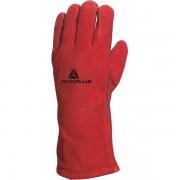 Guanti da lavoro Delta Plus - 408794 Guanti da lavoro in pelle crosta di bovino taglia 10 a norma en388 3 1 3 3 di colore rosso in confezione da 12 Pz.