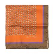 Etro Printed Rabbits Silk Pocket Square Orange