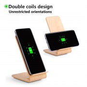 A8 Wooden 10W Fast Charge Qi Wireless Charging Pad Stand for iPhone 8/8 Plus/Samsung Galaxy S8/S7/S6 Etc - Beige