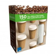 Strong 150 Insulated Paper 12oz/340ml Disposable Takeaway Hot Drink Cups & Lids