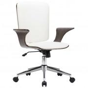 vidaXL Въртящ се офис стол, бял, изкуствена кожа и извито дърво