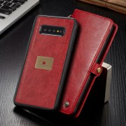 CASEME Qin Series Split Leather Wallet Case + Detachable Phone Cover for Samsung Galaxy S10 Plus - Red