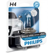 Bec far auto cu halogen pentru far Philips White Vision H4 12V 60/55W P43t-38 Kft Auto
