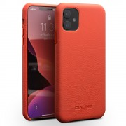 QIALINO Genuine Leather Litchi Texture Phone Back Cover Case for iPhone 11 6.1-inch - Red