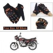 AutoStark Gloves KTM Bike Riding Gloves Orange and Black Riding Gloves Free Size For Bajaj Discover 125 DTS-i