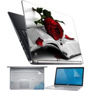 FineArts Rose Book 4 in 1 Laptop Skin Pack with Screen Guard Key Protector and Palmrest Skin