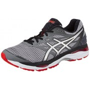 Asics Men's Gel-Cumulus 18 Carbon, Silver and Vermiliion Running Shoes - 6 UK/India (40 EU)(7 US)