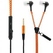 Maxy Zipper Auricolare Stereo Super Bass Headphones In-Ear Jack 3,5mm Universale Orange Per Modelli A Marchio Doro