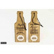 Flesopener 'Soft Drinks/Beer' burned wood 7x20 cm