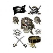 Merkloos 27x Piraten thema stickers met glitters