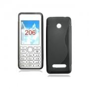 Силиконов гръб ТПУ S-Line за Nokia Asha 206 Черен