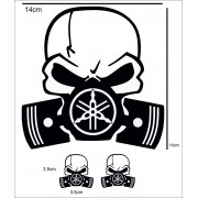 Adesivo Yahama Skull Team Racing Quadrato nero Stickers