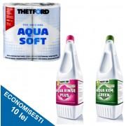 PACHET CLASIC G: Solutie dizolvare deseuri + Odorizant de igienizare + Hartie igienica speciala
