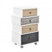 [en.casa]® Cómoda highboard armario sideboard blanco / gris / roble mesa auxiliar - 4 cajones