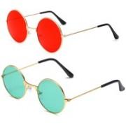 Elligator Round Sunglasses(Red, Green)