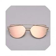 Solarkirin Sunglasses anteojos de sol para mujer con diseño de ojo de gato, de metal, estilo clásico, reflectantes, Gold pink, gold pink