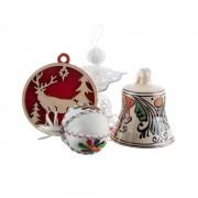 Pachet cadou de Craciun cu decoratiuni de brad - ingeras din dantela, decoratiune din piele, decoratiune din lemn si clopotel din ceramica de Corund