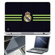 FineArts Laptop Skin Real Madrid Green Lines With Screen Guard and Key Protector - Size 15.6 inch