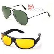 Ediotics Attitude Greenish Aviator Sunglasses & Yellow Night Driving Sunglasses