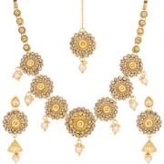 Aadita Traditional Gold Plated American Diamond Choker Necklace Maang Tikka Wedding Bridal Jewellery Sets for Women and Girls
