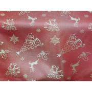 Material decor sau fete de masa rosu motive Craciun