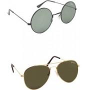 Benour Round, Aviator Sunglasses(Grey, Green)