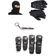 Combo Pack For Fox Knee Elbow Guard +Gloves Black-L+Face Mask With Key Chain
