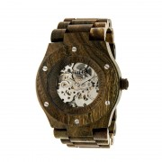 Earth Wood Grand Mesa Automatic Skeleton Bracelet Watch - Olive ETHEW3104