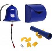 Pakket blauw 1, met een brievenbus, een bel en een telescoop