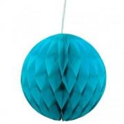 Decor sfera fagure albastru 30cm