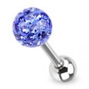 Tongpiercing met ferido multi crystal met Epoxy blauw