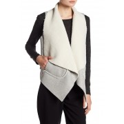 Line Dot Philo Wool Blend Draped Vest GRAY