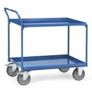 Fetra Tischwagen mit Stahlblechwannen und hohem Schiebebügel 2 Etagen 1000x600mm Ladefläche