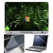 FineArts Laptop Skin 15.6 Inch With Key Guard & Screen Protector - Windows Green Wallpaper